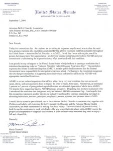 Click here to see a full size scan of the original letter from the U.S. Senate creating ADHD Awareness Day.