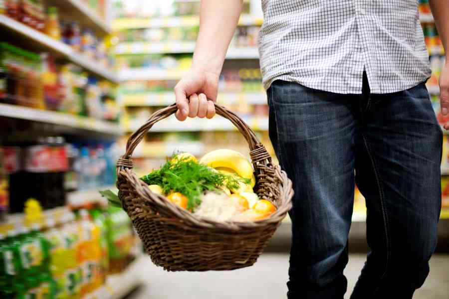 what foods and supplements for adhd brain - basket filled with healthy food in supermarket